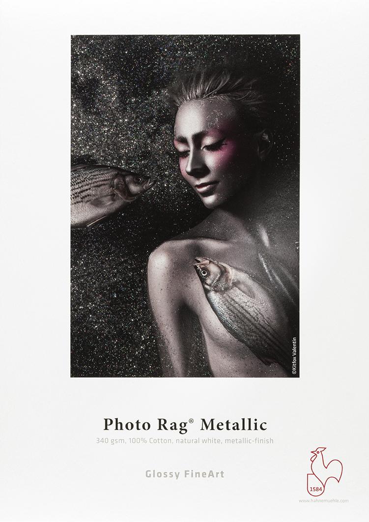 Photo Rag® Metallic de Hahnemühle 340 g/m² · 100 % algodón · blanco natural · acabado metálico de alto brillo de Hahnemühle